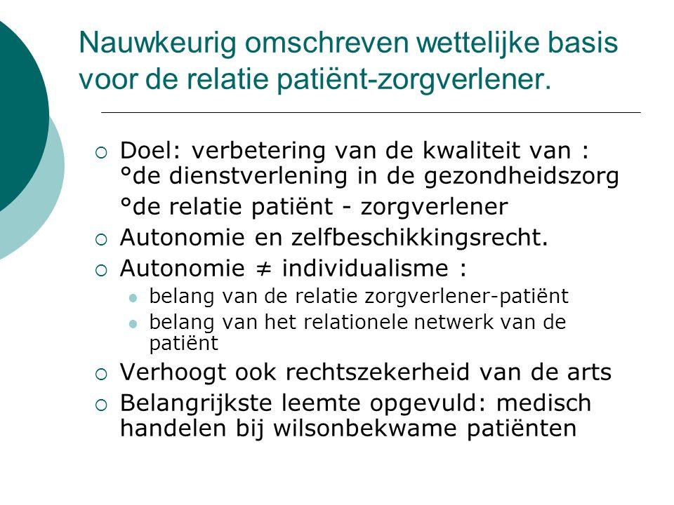 Nauwkeurig omschreven wettelijke basis voor de relatie patiënt-zorgverlener.
