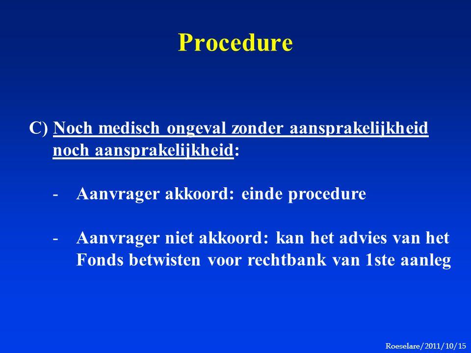 Roeselare/2011/10/15 Procedure C) Noch medisch ongeval zonder aansprakelijkheid noch aansprakelijkheid: -Aanvrager akkoord: einde procedure -Aanvrager niet akkoord: kan het advies van het Fonds betwisten voor rechtbank van 1ste aanleg