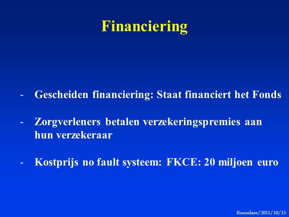 Roeselare/2011/10/15 Financiering -Gescheiden financiering: Staat financiert het Fonds -Zorgverleners betalen verzekeringspremies aan hun verzekeraar -Kostprijs no fault systeem: FKCE: 20 miljoen euro