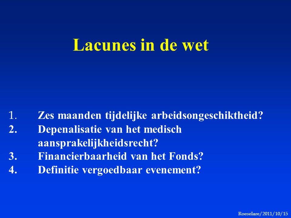 Roeselare/2011/10/15 Lacunes in de wet 1. Zes maanden tijdelijke arbeidsongeschiktheid? 2. Depenalisatie van het medisch aansprakelijkheidsrecht? 3. F