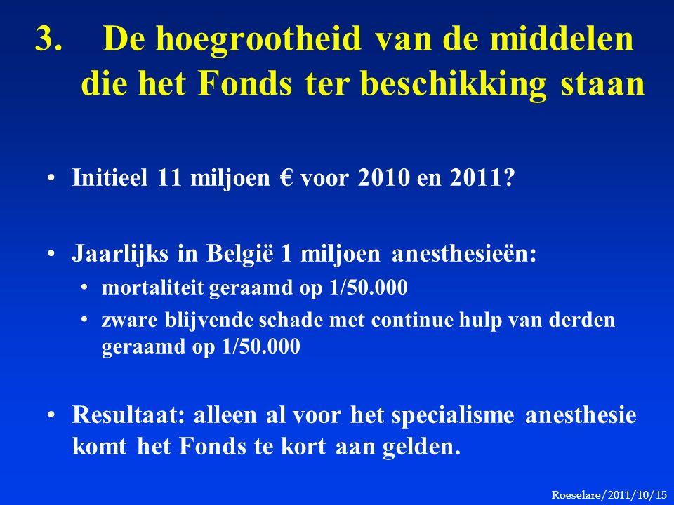Roeselare/2011/10/15 3.De hoegrootheid van de middelen die het Fonds ter beschikking staan Initieel 11 miljoen € voor 2010 en 2011? Jaarlijks in Belgi