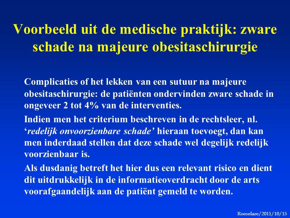Roeselare/2011/10/15 Voorbeeld uit de medische praktijk: zware schade na majeure obesitaschirurgie Complicaties of het lekken van een sutuur na majeure obesitaschirurgie: de patiënten ondervinden zware schade in ongeveer 2 tot 4% van de interventies.