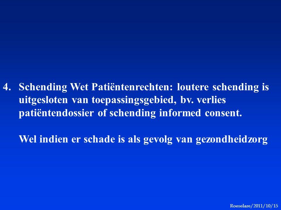 Roeselare/2011/10/15 4.Schending Wet Patiëntenrechten: loutere schending is uitgesloten van toepassingsgebied, bv. verlies patiëntendossier of schendi