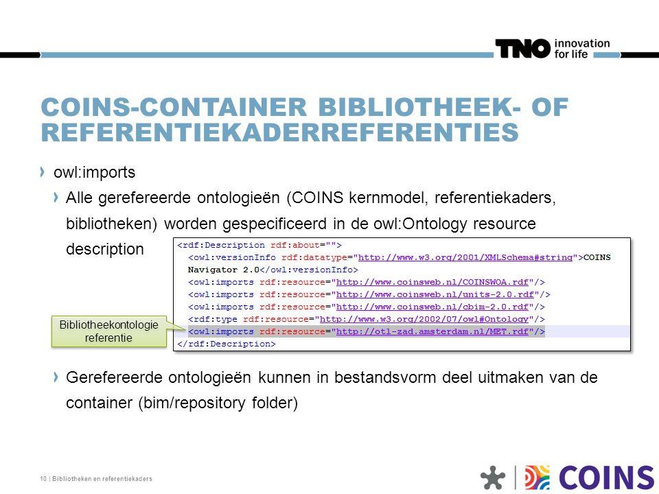 COINS-CONTAINER BIBLIOTHEEK- OF REFERENTIEKADERREFERENTIES owl:imports Alle gerefereerde ontologieën (COINS kernmodel, referentiekaders, bibliotheken)