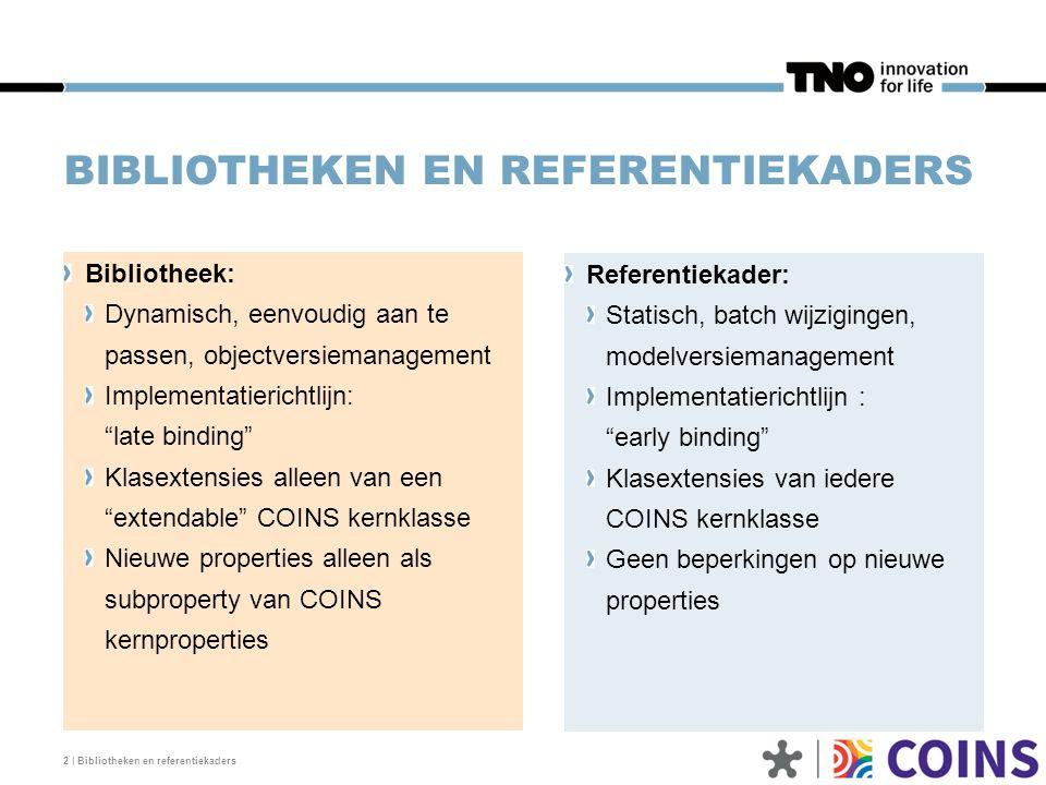 REFERENTIEKADER 3 | Bibliotheken en referentiekaders COINS mechanisme om het kernmodel uit te breiden voor: toepassingsgerichte applicaties (systems engineering, conditiemeting, kosten, planning, sterkteberekening, etc.) Mechanisme om gelijksoortige modelleerconstructies in verschillende referentiekaders te integreren in een afzonderlijk gedeeld model maar te specifiek zijn voor het kernmodel (bijvoorbeeld een poorten-model) Mechanisme om alternatieve oplossingen naast elkaar te laten bestaan (bijvoorbeeld units-ontologieën) Mechanisme om projectafhankelijke toevoegingen een plek te geven.