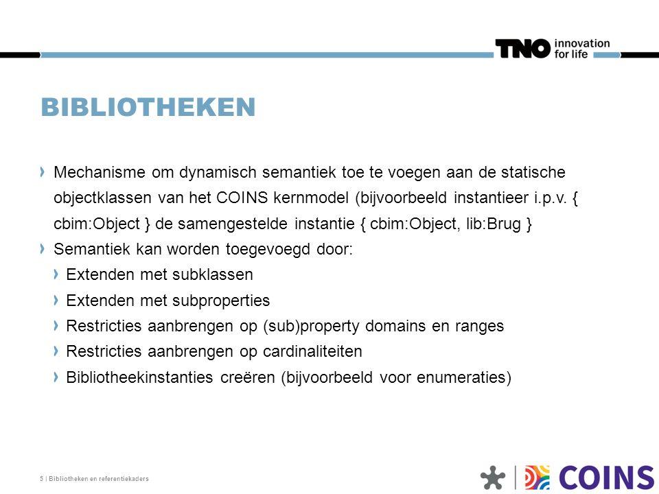 6 | Bibliotheken en referentiekaders EXTENDEN MET SUBKLASSEN Elke extendable kernklas kan in een bibliotheek als supertype worden gebruikt Een bibliotheekklas heeft ook altijd de kernklas CataloguePart als supertype (facettype) Nieuwe OTL-klassen met hier kernklas cbim:Object als supertype.
