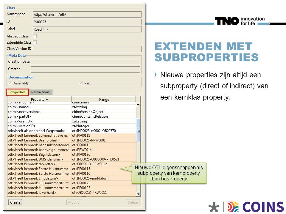 EXTENDEN MET SUBPROPERTIES Nieuwe properties zijn altijd een subproperty (direct of indirect) van een kernklas property. 7 | Bibliotheken en referenti