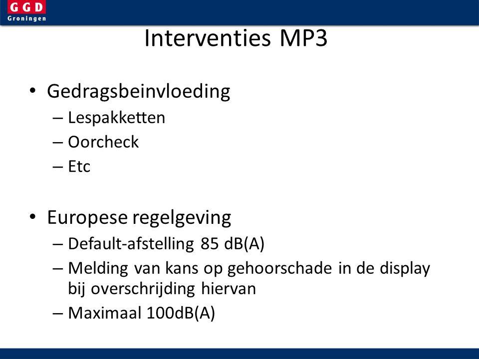 Interventies MP3 Gedragsbeinvloeding – Lespakketten – Oorcheck – Etc Europese regelgeving – Default-afstelling 85 dB(A) – Melding van kans op gehoorschade in de display bij overschrijding hiervan – Maximaal 100dB(A)