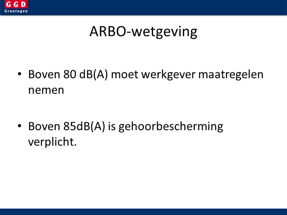 ARBO-wetgeving Boven 80 dB(A) moet werkgever maatregelen nemen Boven 85dB(A) is gehoorbescherming verplicht.