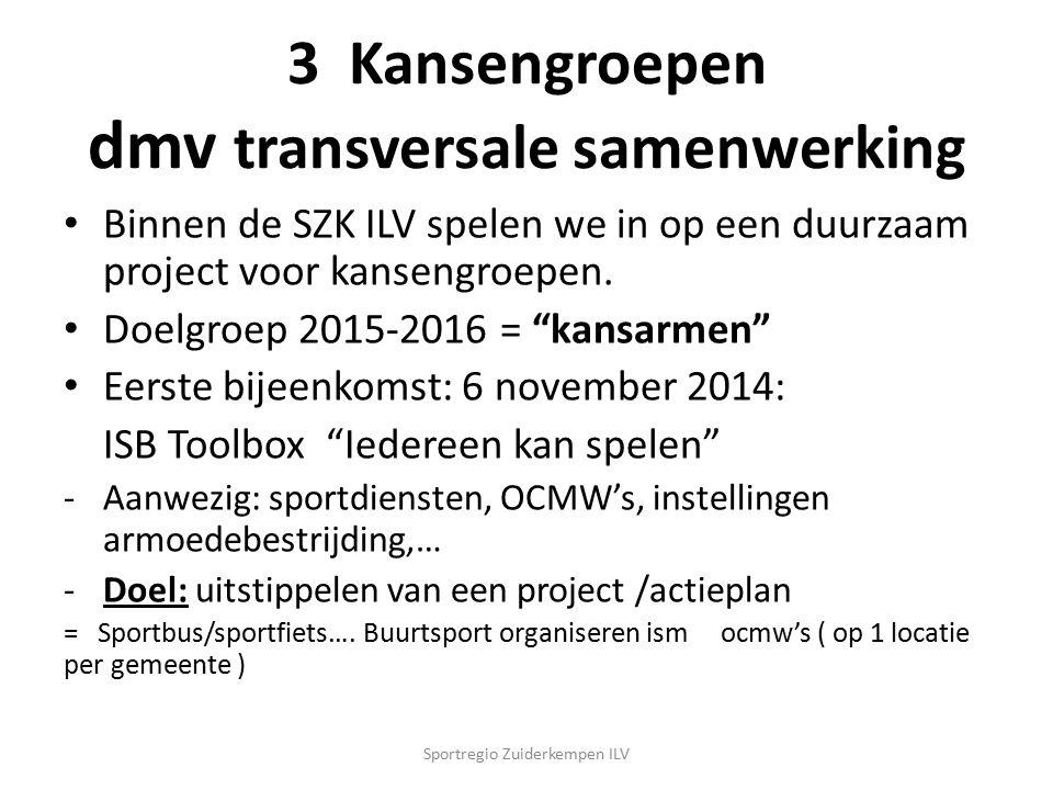 """3 Kansengroepen dmv transversale samenwerking Binnen de SZK ILV spelen we in op een duurzaam project voor kansengroepen. Doelgroep 2015-2016 = """"kansar"""