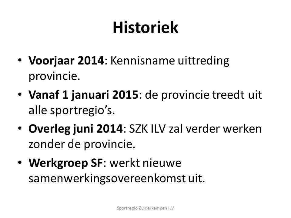 Historiek Voorjaar 2014: Kennisname uittreding provincie. Vanaf 1 januari 2015: de provincie treedt uit alle sportregio's. Overleg juni 2014: SZK ILV