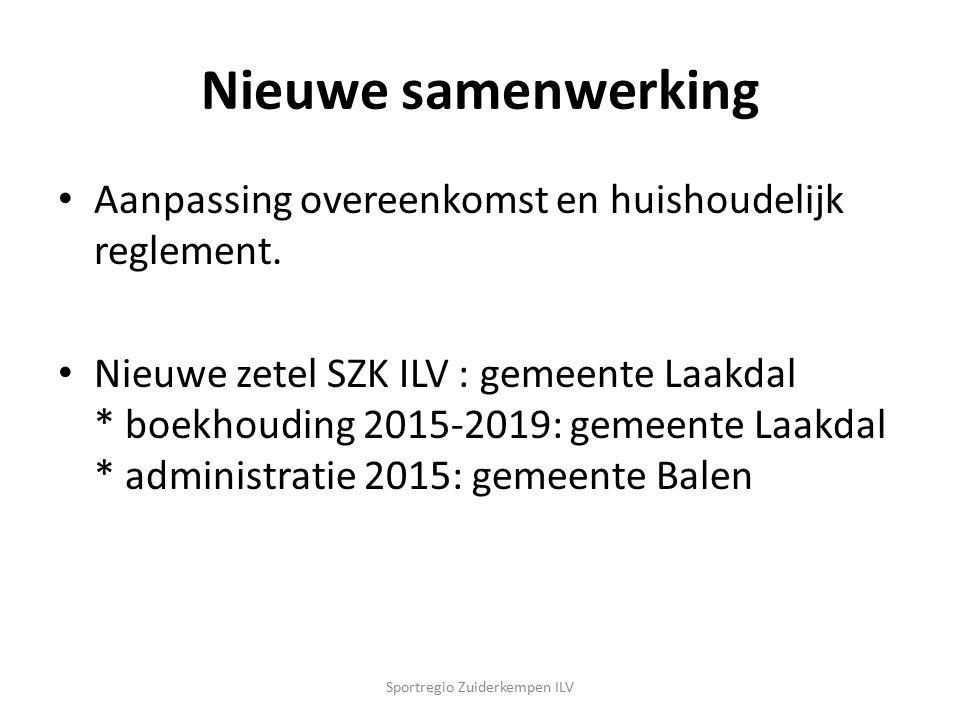 Nieuwe samenwerking Aanpassing overeenkomst en huishoudelijk reglement. Nieuwe zetel SZK ILV : gemeente Laakdal * boekhouding 2015-2019: gemeente Laak