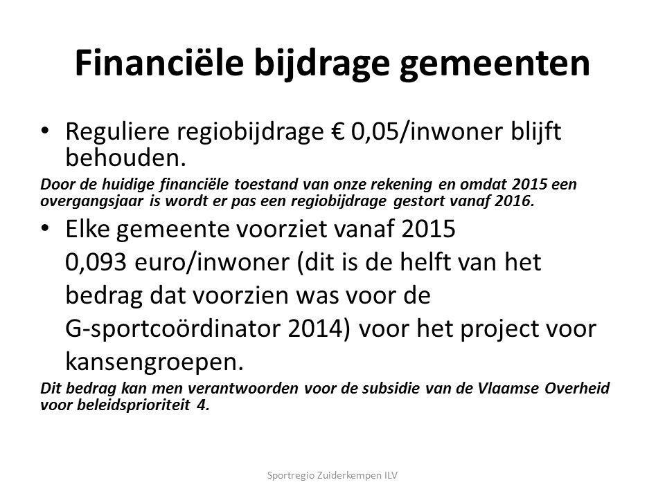 Financiële bijdrage gemeenten Reguliere regiobijdrage € 0,05/inwoner blijft behouden. Door de huidige financiële toestand van onze rekening en omdat 2