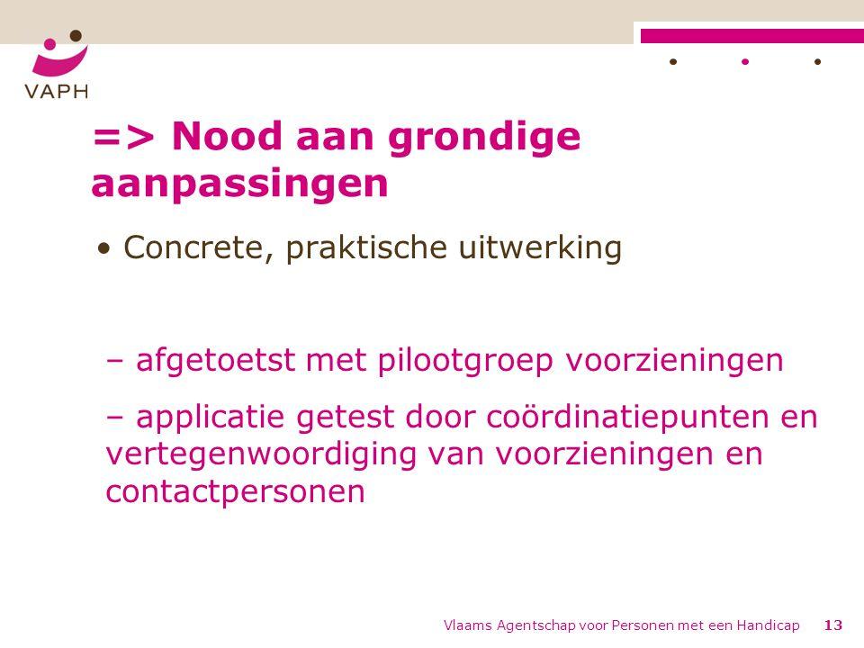=> Nood aan grondige aanpassingen Concrete, praktische uitwerking – afgetoetst met pilootgroep voorzieningen – applicatie getest door coördinatiepunte