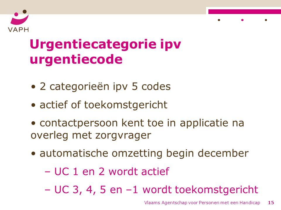 Urgentiecategorie ipv urgentiecode 2 categorieën ipv 5 codes actief of toekomstgericht contactpersoon kent toe in applicatie na overleg met zorgvrager