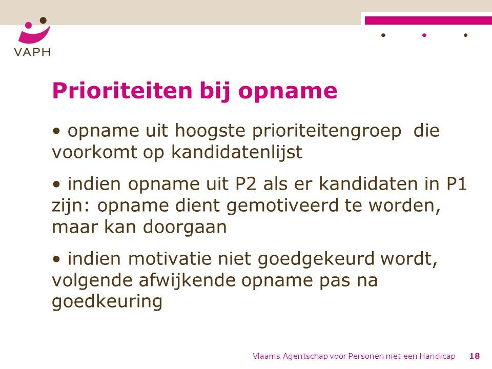 Prioriteiten bij opname opname uit hoogste prioriteitengroep die voorkomt op kandidatenlijst indien opname uit P2 als er kandidaten in P1 zijn: opname