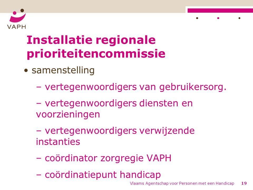 Installatie regionale prioriteitencommissie samenstelling – vertegenwoordigers van gebruikersorg. – vertegenwoordigers diensten en voorzieningen – ver