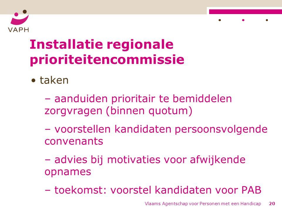 Installatie regionale prioriteitencommissie taken – aanduiden prioritair te bemiddelen zorgvragen (binnen quotum) – voorstellen kandidaten persoonsvol