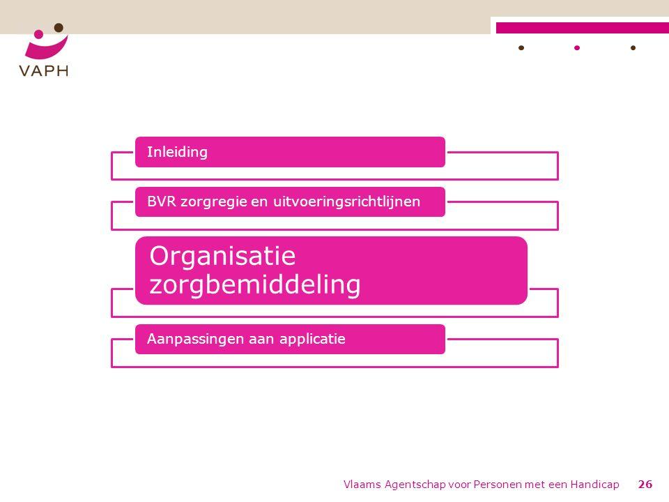 Vlaams Agentschap voor Personen met een Handicap26 InleidingBVR zorgregie en uitvoeringsrichtlijnen Organisatie zorgbemiddeling Aanpassingen aan appli
