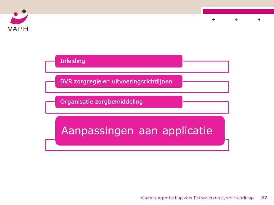 Vlaams Agentschap voor Personen met een Handicap27 InleidingBVR zorgregie en uitvoeringsrichtlijnenOrganisatie zorgbemiddeling Aanpassingen aan applic