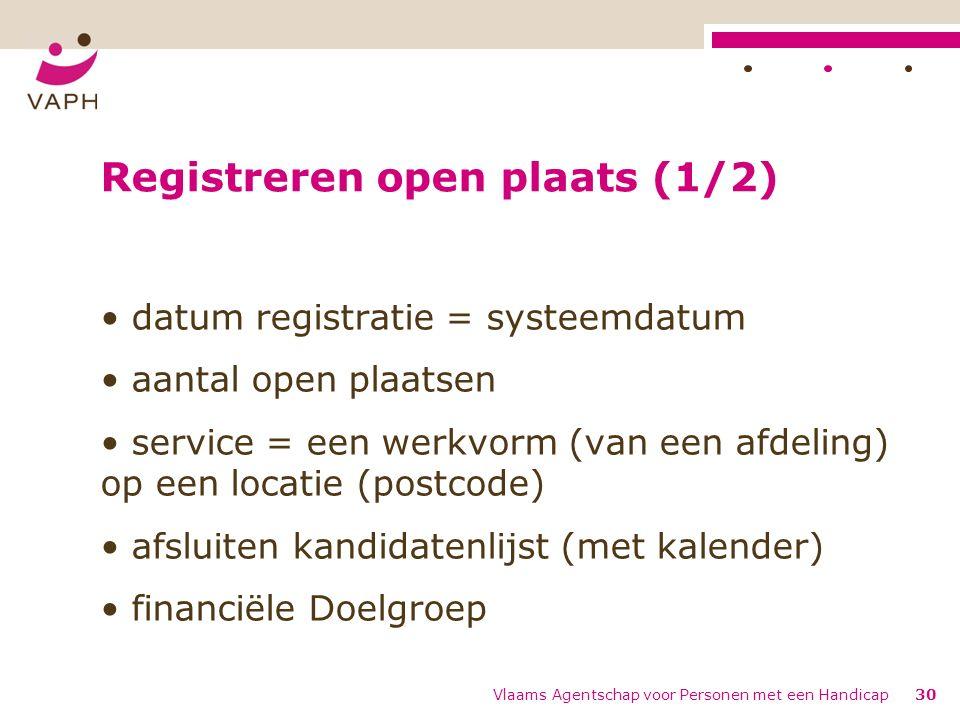 Registreren open plaats (1/2) datum registratie = systeemdatum aantal open plaatsen service = een werkvorm (van een afdeling) op een locatie (postcode