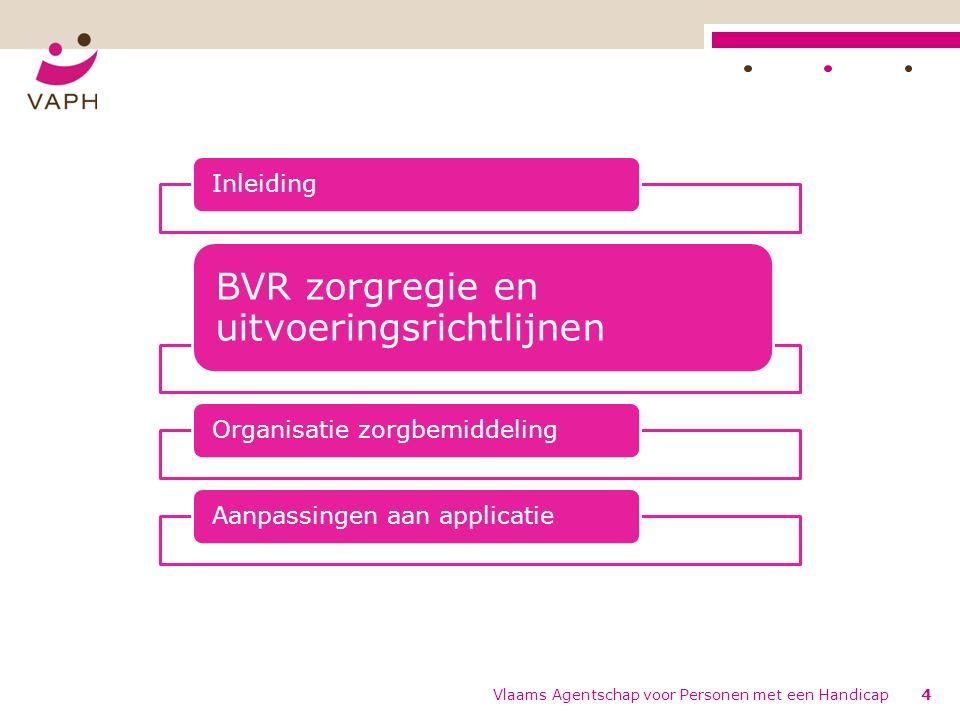 4 Inleiding BVR zorgregie en uitvoeringsrichtlijnen Organisatie zorgbemiddelingAanpassingen aan applicatie