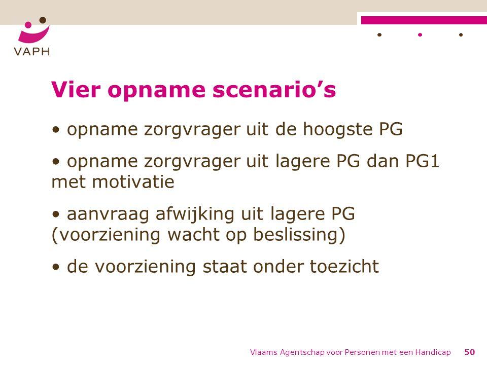 Vier opname scenario's opname zorgvrager uit de hoogste PG opname zorgvrager uit lagere PG dan PG1 met motivatie aanvraag afwijking uit lagere PG (voo