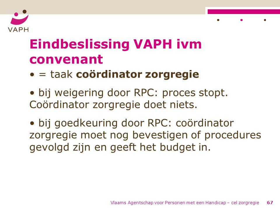 Vlaams Agentschap voor Personen met een Handicap – cel zorgregie67 Eindbeslissing VAPH ivm convenant = taak coördinator zorgregie bij weigering door R