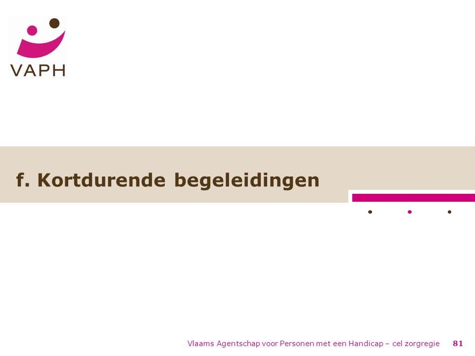 Vlaams Agentschap voor Personen met een Handicap – cel zorgregie81 f. Kortdurende begeleidingen