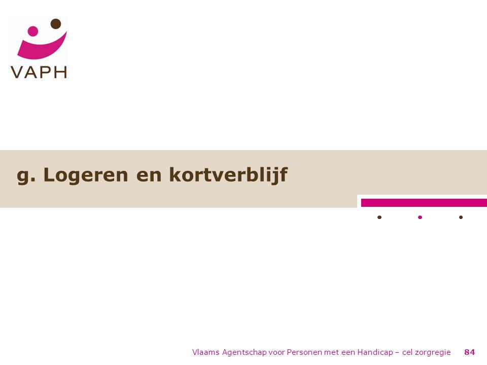 Vlaams Agentschap voor Personen met een Handicap – cel zorgregie84 g. Logeren en kortverblijf