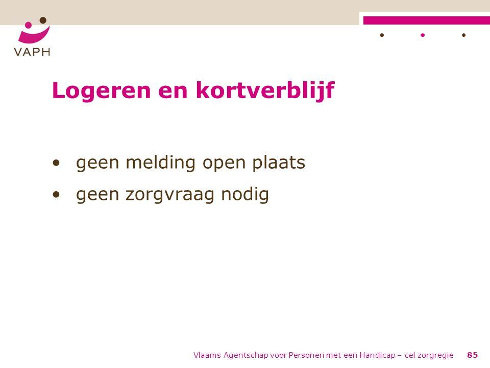Vlaams Agentschap voor Personen met een Handicap – cel zorgregie85 Logeren en kortverblijf geen melding open plaats geen zorgvraag nodig