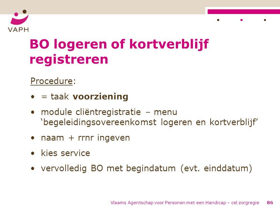 Vlaams Agentschap voor Personen met een Handicap – cel zorgregie86 BO logeren of kortverblijf registreren Procedure: = taak voorziening module cliëntr