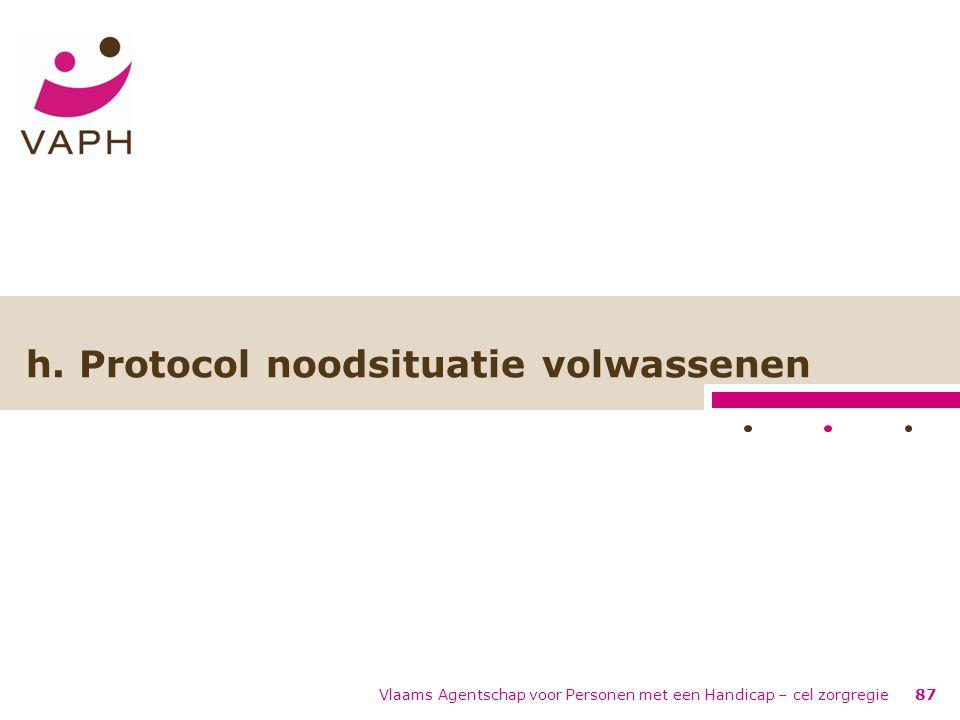 Vlaams Agentschap voor Personen met een Handicap – cel zorgregie87 h. Protocol noodsituatie volwassenen