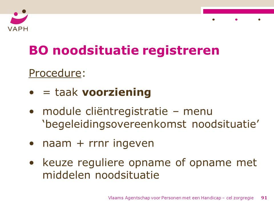 Vlaams Agentschap voor Personen met een Handicap – cel zorgregie91 BO noodsituatie registreren Procedure: = taak voorziening module cliëntregistratie