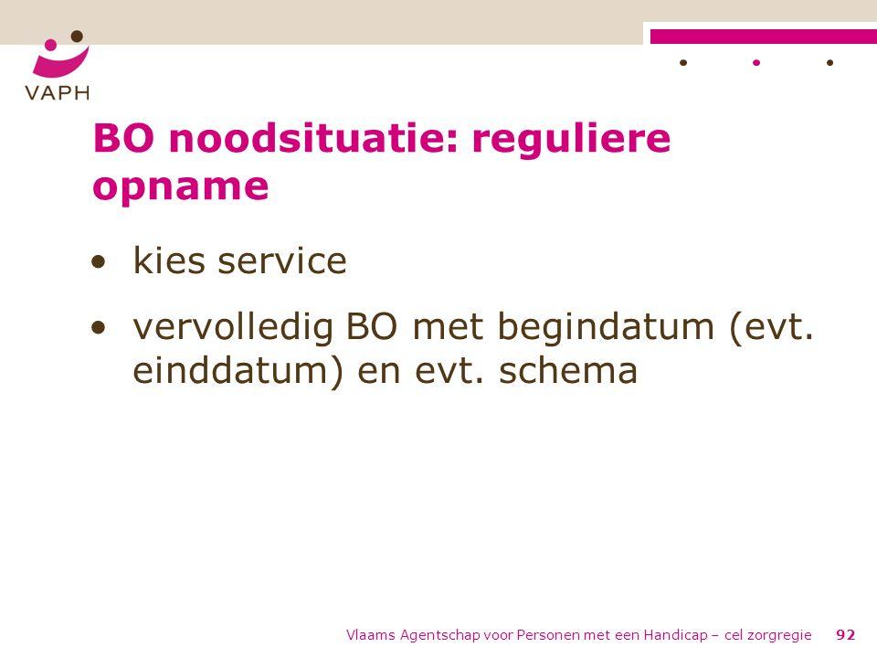 Vlaams Agentschap voor Personen met een Handicap – cel zorgregie92 BO noodsituatie: reguliere opname kies service vervolledig BO met begindatum (evt.