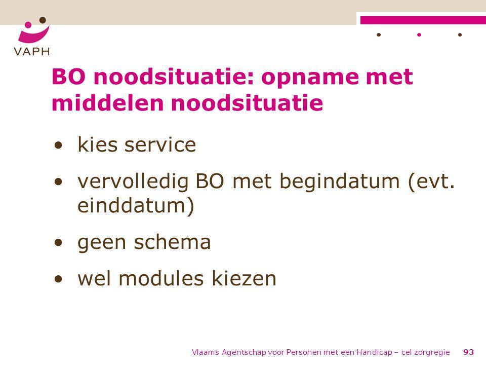 Vlaams Agentschap voor Personen met een Handicap – cel zorgregie93 BO noodsituatie: opname met middelen noodsituatie kies service vervolledig BO met b