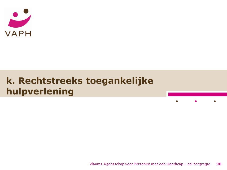 Vlaams Agentschap voor Personen met een Handicap – cel zorgregie98 k. Rechtstreeks toegankelijke hulpverlening