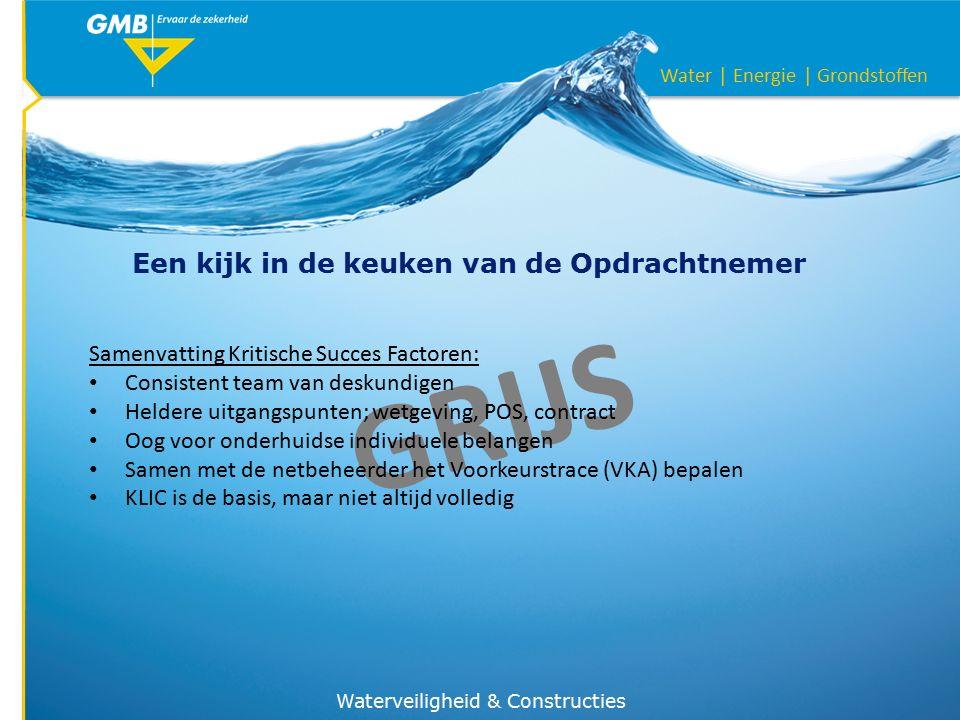 Water | Energie | Grondstoffen Een kijk in de keuken van de Opdrachtnemer Waterveiligheid & Constructies GRIJS Samenvatting Kritische Succes Factoren: Consistent team van deskundigen Heldere uitgangspunten; wetgeving, POS, contract Oog voor onderhuidse individuele belangen Samen met de netbeheerder het Voorkeurstrace (VKA) bepalen KLIC is de basis, maar niet altijd volledig