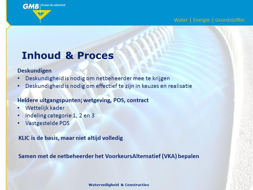 Water | Energie | Grondstoffen Waterveiligheid & Constructies Inhoud & Proces Deskundigen Deskundigheid is nodig om netbeheerder mee te krijgen Deskundigheid is nodig om effectief te zijn in keuzes en realisatie Heldere uitgangspunten; wetgeving, POS, contract Wettelijk kader Indeling categorie 1, 2 en 3 Vastgestelde POS KLIC is de basis, maar niet altijd volledig Samen met de netbeheerder het VoorkeursAlternatief (VKA) bepalen