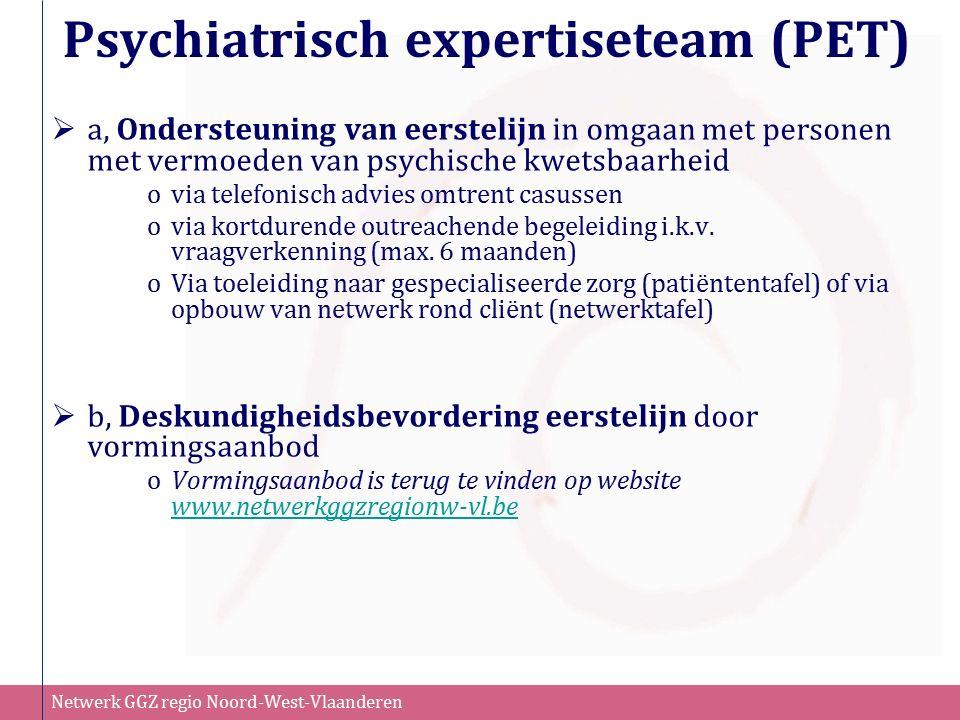 Netwerk GGZ regio Noord-West-Vlaanderen Psychiatrisch expertiseteam (PET)  a, Ondersteuning van eerstelijn in omgaan met personen met vermoeden van p