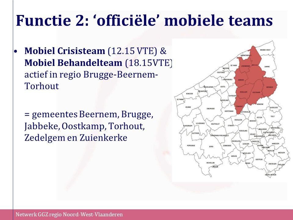 Netwerk GGZ regio Noord-West-Vlaanderen Functie 2: 'officiële' mobiele teams Mobiel Crisisteam (12.15 VTE) & Mobiel Behandelteam (18.15VTE) actief in