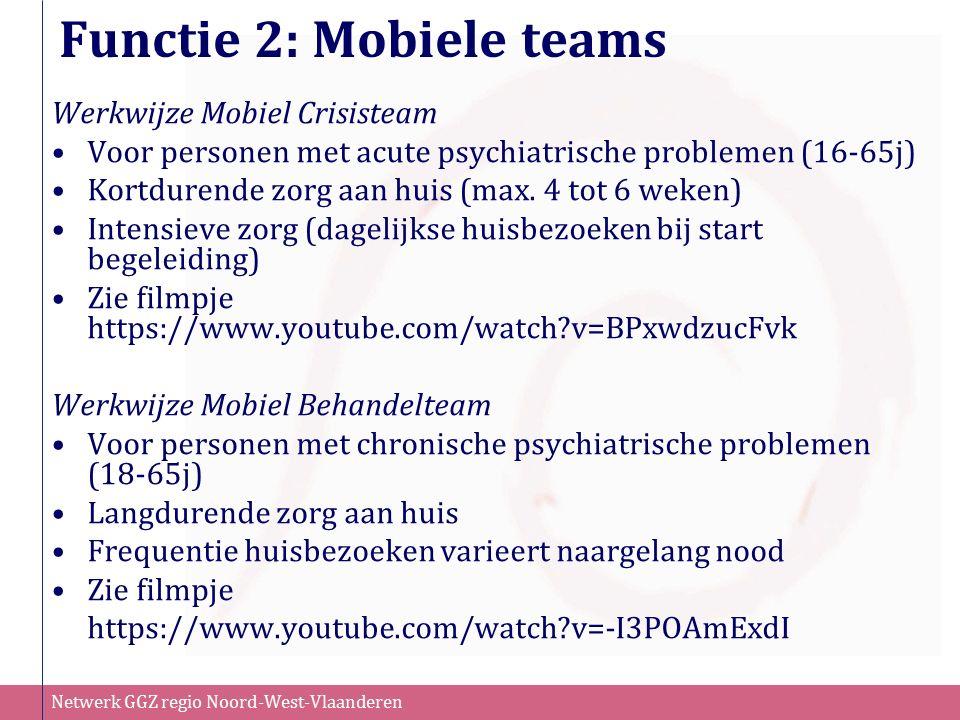 Netwerk GGZ regio Noord-West-Vlaanderen Functie 2: Mobiele teams Werkwijze Mobiel Crisisteam Voor personen met acute psychiatrische problemen (16-65j)