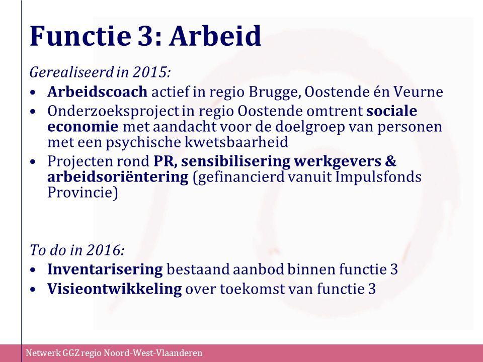 Netwerk GGZ regio Noord-West-Vlaanderen Functie 3: Arbeid Gerealiseerd in 2015: Arbeidscoach actief in regio Brugge, Oostende én Veurne Onderzoeksproj