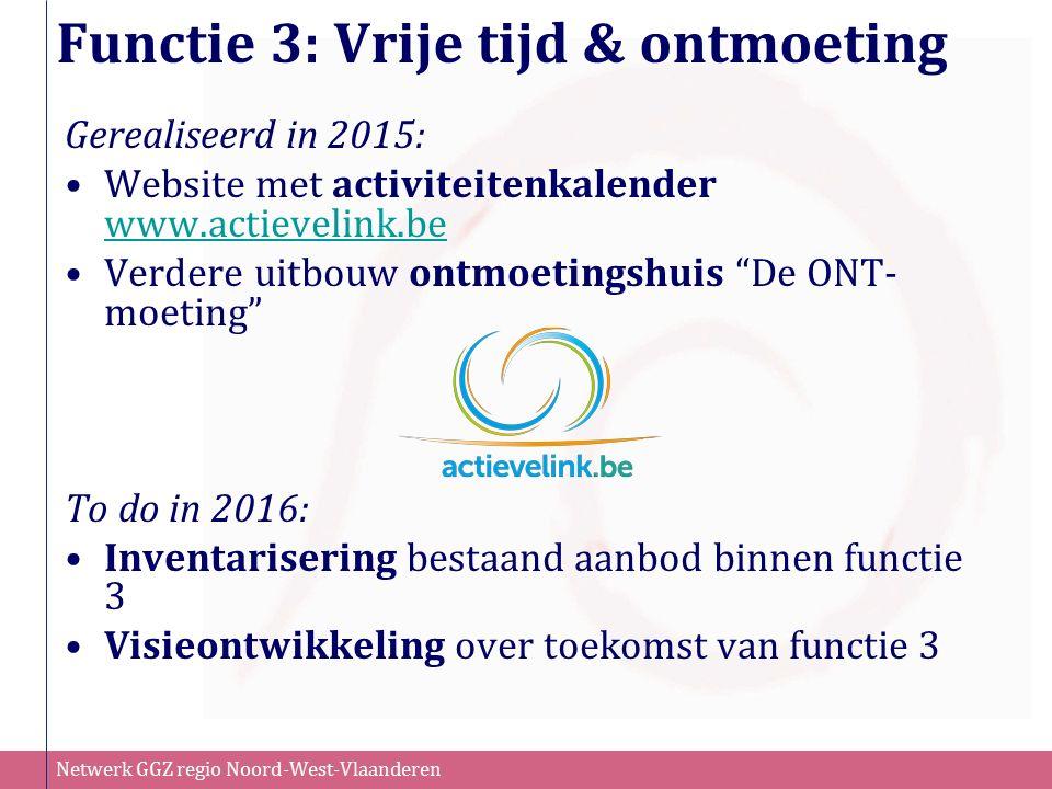 Netwerk GGZ regio Noord-West-Vlaanderen Functie 3: Vrije tijd & ontmoeting Gerealiseerd in 2015: Website met activiteitenkalender www.actievelink.be w