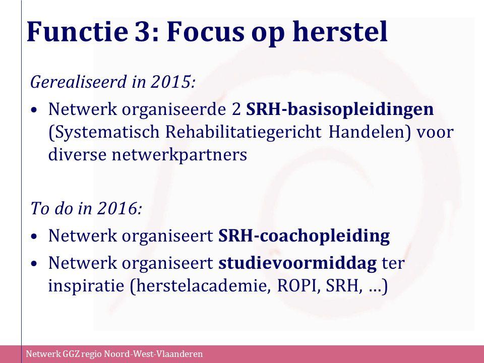 Netwerk GGZ regio Noord-West-Vlaanderen Functie 3: Focus op herstel Gerealiseerd in 2015: Netwerk organiseerde 2 SRH-basisopleidingen (Systematisch Re