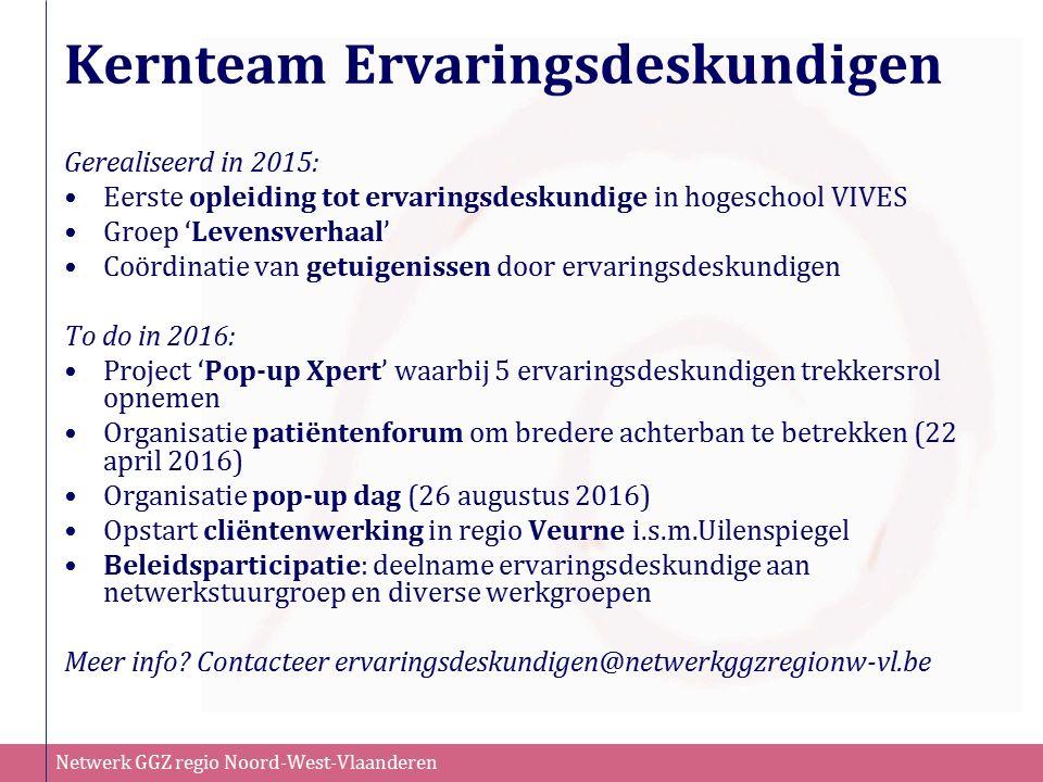 Netwerk GGZ regio Noord-West-Vlaanderen Kernteam Ervaringsdeskundigen Gerealiseerd in 2015: Eerste opleiding tot ervaringsdeskundige in hogeschool VIVES Groep 'Levensverhaal' Coördinatie van getuigenissen door ervaringsdeskundigen To do in 2016: Project 'Pop-up Xpert' waarbij 5 ervaringsdeskundigen trekkersrol opnemen Organisatie patiëntenforum om bredere achterban te betrekken (22 april 2016) Organisatie pop-up dag (26 augustus 2016) Opstart cliëntenwerking in regio Veurne i.s.m.Uilenspiegel Beleidsparticipatie: deelname ervaringsdeskundige aan netwerkstuurgroep en diverse werkgroepen Meer info.