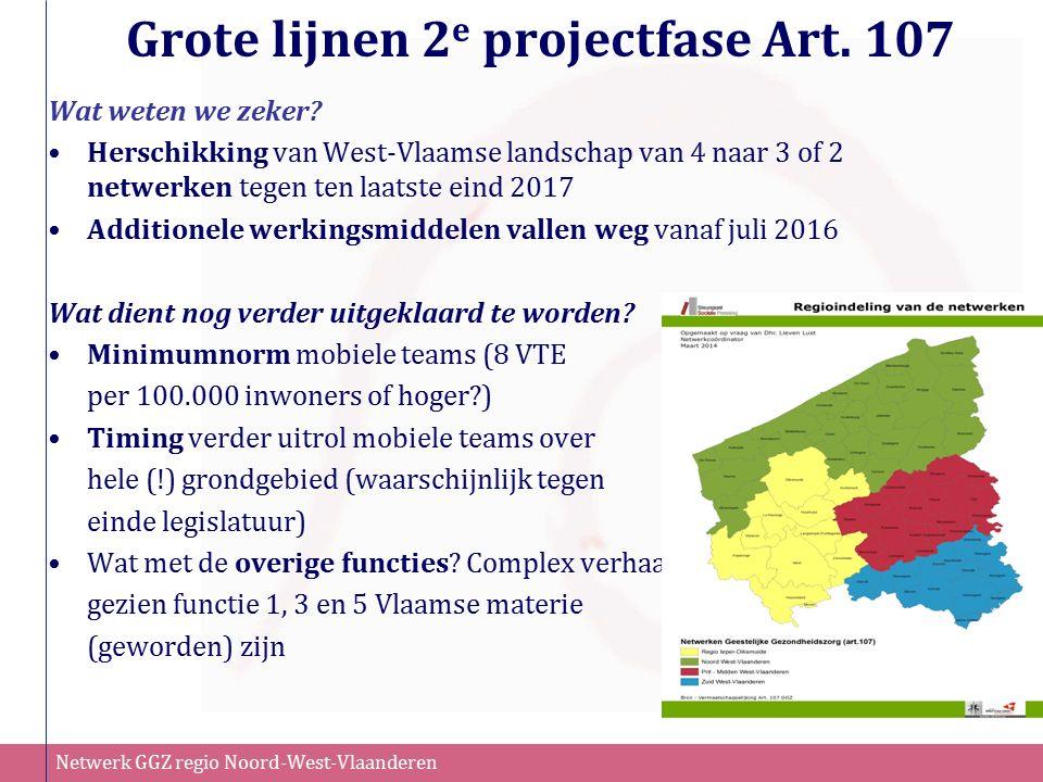 Netwerk GGZ regio Noord-West-Vlaanderen Grote lijnen 2 e projectfase Art. 107 Wat weten we zeker? Herschikking van West-Vlaamse landschap van 4 naar 3
