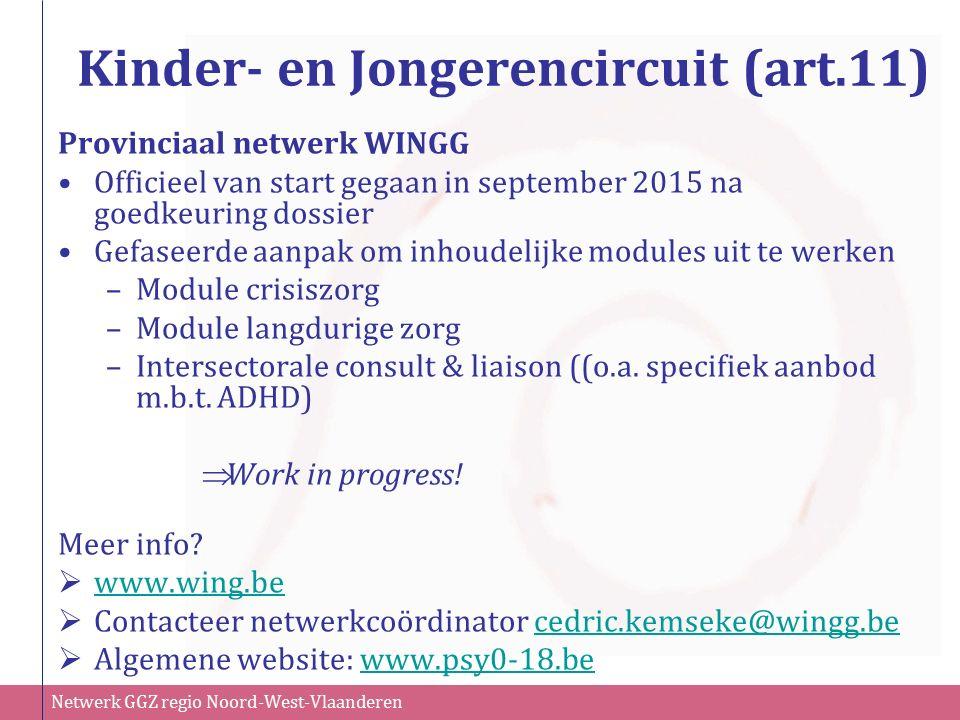 Netwerk GGZ regio Noord-West-Vlaanderen Kinder- en Jongerencircuit (art.11) Provinciaal netwerk WINGG Officieel van start gegaan in september 2015 na