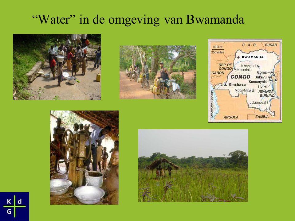 Water in de omgeving van Bwamanda Energie om water op te halen Energie om water te transporteren Tijdsbestediging ivm water: –Ten koste van ontplooiing –Ten koste van onderwijs Kwaliteit van het water… Minimale inzet van water ivm hygiene, verzorging,… Minimale implementatie in landbouw