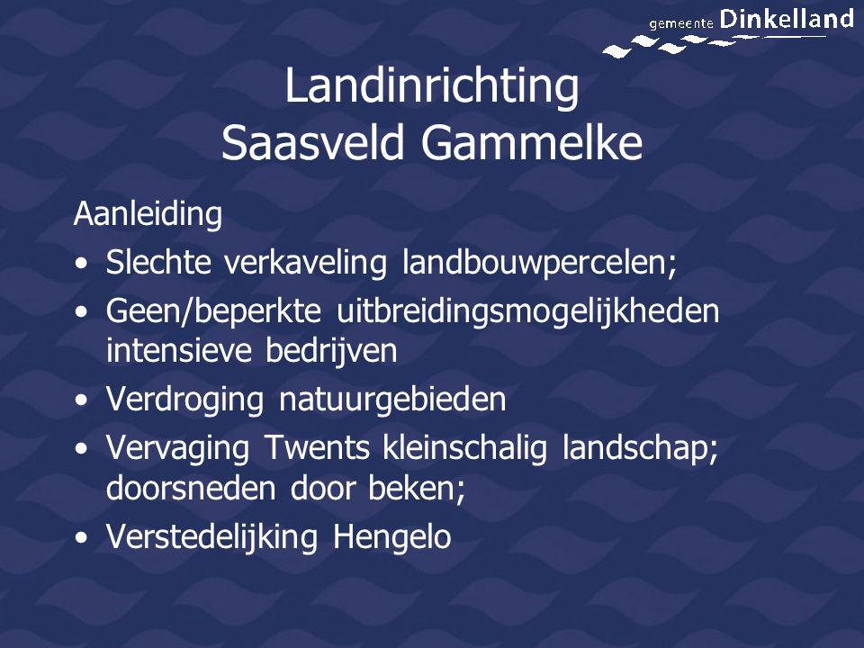 Landinrichting Saasveld Gammelke Aanleiding Slechte verkaveling landbouwpercelen; Geen/beperkte uitbreidingsmogelijkheden intensieve bedrijven Verdrog